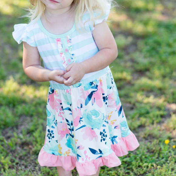 Other - FINAL PRICE Mint Stripe Pink Floral Dress